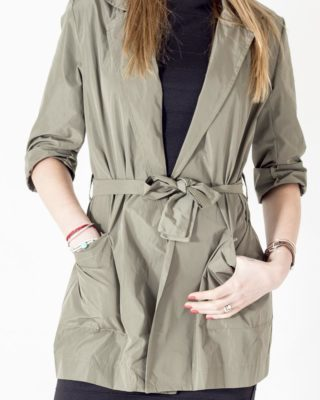 Giacca Trench colore verde con tasca
