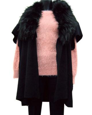 Cappotto mantello con pelo colore nero