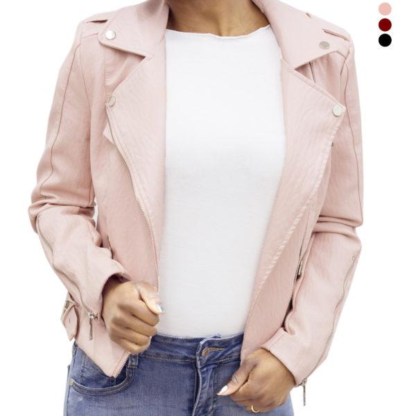 low priced 30c90 f697e Giacca ecopelle con zip colore rosa