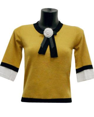 maglia colore giallo a manica 3/4 con fiocco