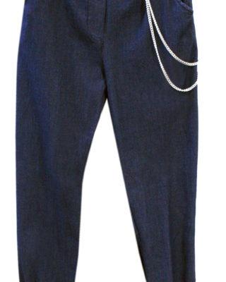 Pantalone denim con catena